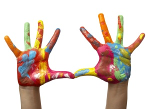 Colorful Painted Child Hand